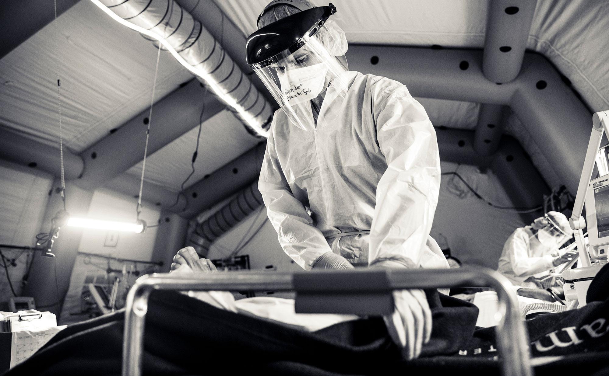 Nurse preparing for shift