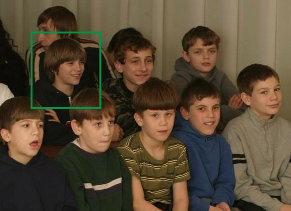 Vladimir and other boys at the shoebox distribution event
